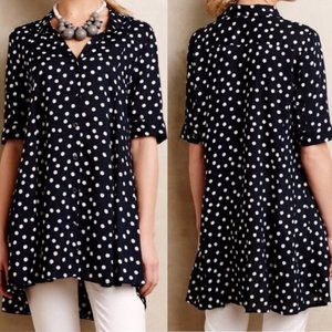 Anthropologie TYHLO navy polka dot tunic blouse